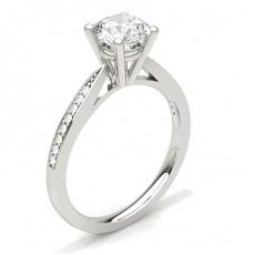 Bague de fiançailles fine solitaire épaulé diamant serti 4 griffes rondes et pavé