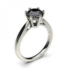 Bague de fiançailles fine solitaire diamant noir rond serti 6 griffes profil cœur