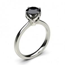 Bague solitaire largediamant noir serti 4 griffes