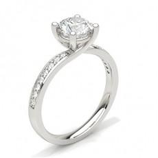 Bague de fiançailles solitaire épaulé diamant serti 4 griffes et pavé