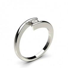 Bague mini diamant rond/princesse serti rail