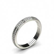 Alliance diamant en profil plat pointe éffilée rond serti pavé