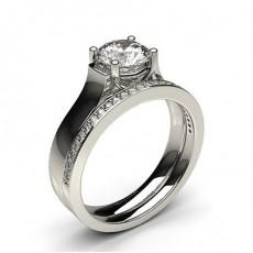 Bague de fiançailles solitaire diamant rond serti 4 griffes avec alliance accordée