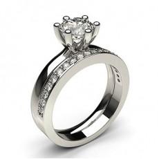 Bague de fiançailles solitaire épaulé diamant rond serti 4 griffes et pavé avec alliance accordée