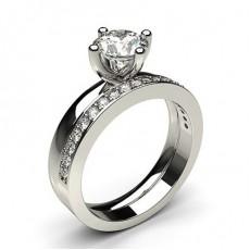 Bague de fiançailles solitaire diamant rond serti 6 griffes avec alliance accordée