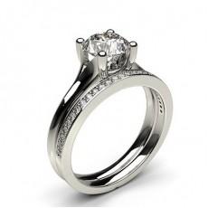 Bague de fiançailles solitaire épaulé diamant rond serti 6 griffes et pavé avec alliance accordée