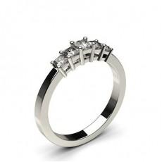 Bague 5 pierres diamant princesse serti 4 griffes