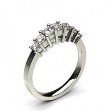Bague 7 pierres diamant princesse serti 4 griffes