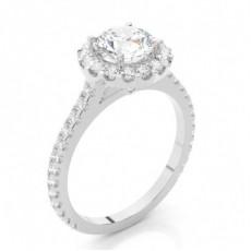 Bague de fiançailles épaulée halo diamant rond serti 4 griffes profil poire et clos