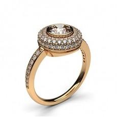 Bague de fiançailles épaulée halo diamant rond serti clos et pavé