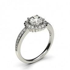 Bague de fiançailles épaulée halo diamant rond serti 4 griffes rondes et pavé