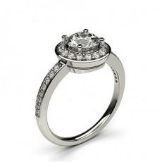 Bague de fiançailles épaulée halo diamant rond serti 4 griffes profil poire et pavé