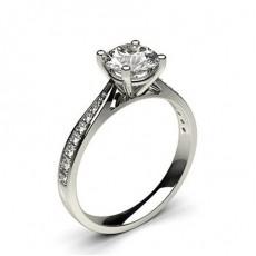 Bague de fiançailles solitaire épaulé diamant rond serti 4 griffes et pavé