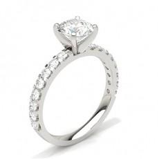 Bague de fiançailles solitaire épaulé diamant serti 4 griffes carrées