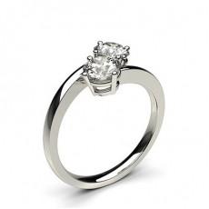 Bague 2 pierres diamant rond serti 4 griffes
