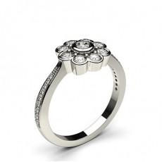 Bague illusion diamant rond serti clos et pavé en 0.60ct