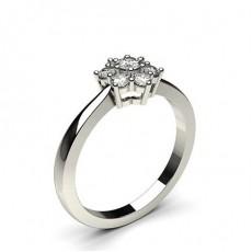 Bague illusion diamant rond serti 3 griffes et 6 griffes en 0.30ct