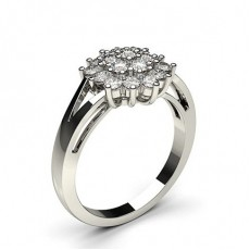 Bague illusion diamant rond serti griffes en 0.60ct