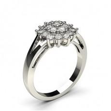 Bague illusion diamant rond serti griffes en 0.60ct