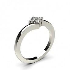 Bague illusion diamant rond serti 4 griffes en 0.12ct