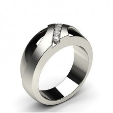 Bague homme diamant rond/princesse serti invisible en 0.31ct