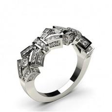 Bague fantaisie diamant rond serti 2 griffes et pavé en 0.48ct