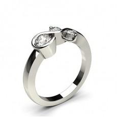 Bague fantaisie diamant rond serti griffes et rail en 0.67ct