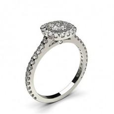 Bague illusion diamant rond serti 4 griffes et clos en 0.55ct