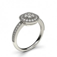 Bague illusion diamant rond serti pavé en 0.40ct