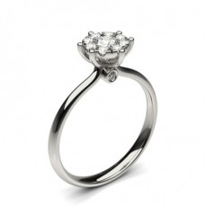 Bague illusion diamant rond serti pavé en 1.00ct