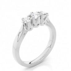 Bague 3 pierres diamant Oval/rond serti 4 griffes